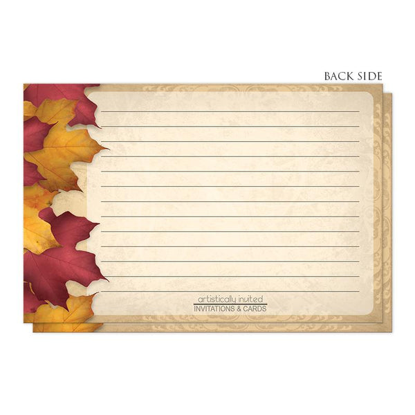 Rustic Burgundy Gold Autumn Recipe Cards (back side) at Artistically Invited