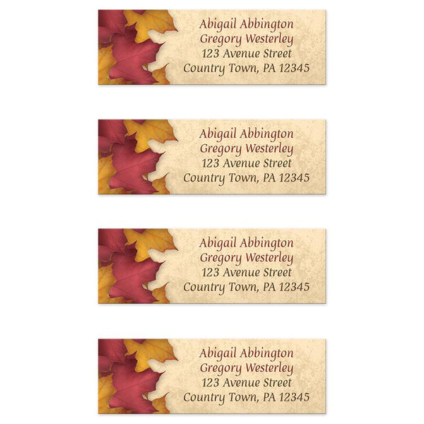 Rustic Burgundy Gold Autumn Address Labels at Artistically Invited