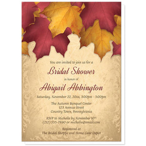 Rustic Burgundy Gold Autumn Bridal Shower Invitations at Artistically Invited
