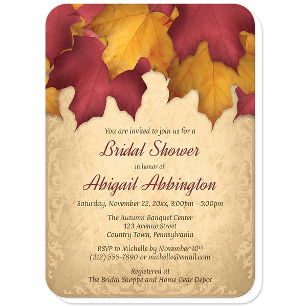 Rustic Burgundy Gold Autumn Bridal Shower Invitations (rounded corners) at Artistically Invited