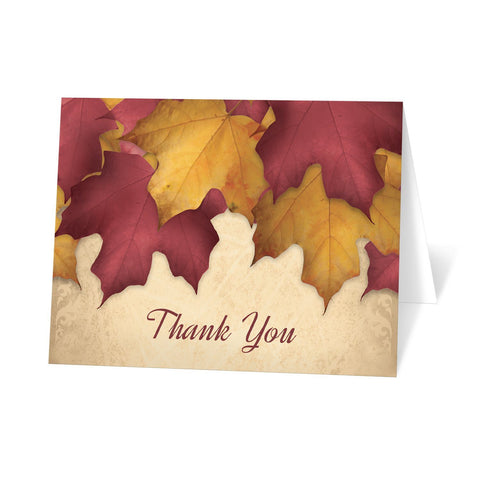 Rustic Burgundy Gold Autumn Thank You Cards at Artistically Invited