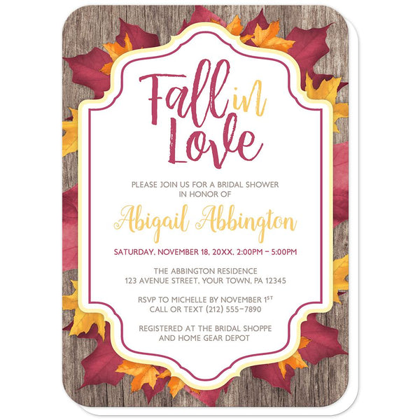 Fall in Love - Rustic Burgundy Gold Fall in Love Bridal Shower Invitations (rounded corners) at Artistically Invited