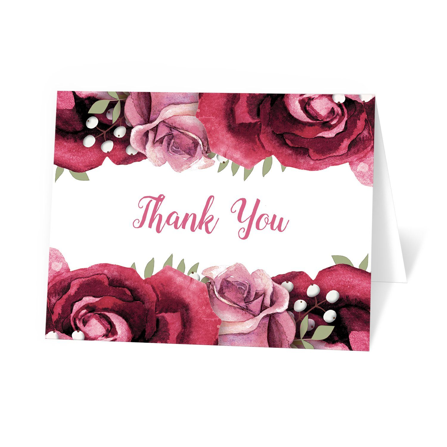 Rustic Burgundy Pink Rose Thank You Cards at Artistically Invited