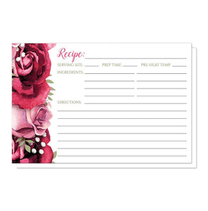 Rustic Burgundy Pink Rose White Recipe Cards
