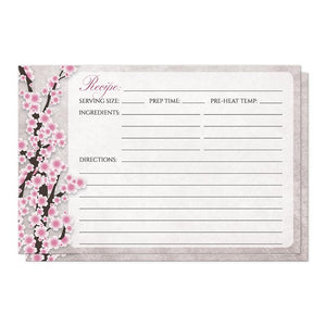 Rustic Pink Cherry Blossom Recipe Cards at Artistically Invited