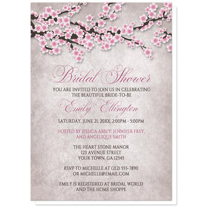 Rustic Pink Cherry Blossom Bridal Shower Invitations at Artistically Invited