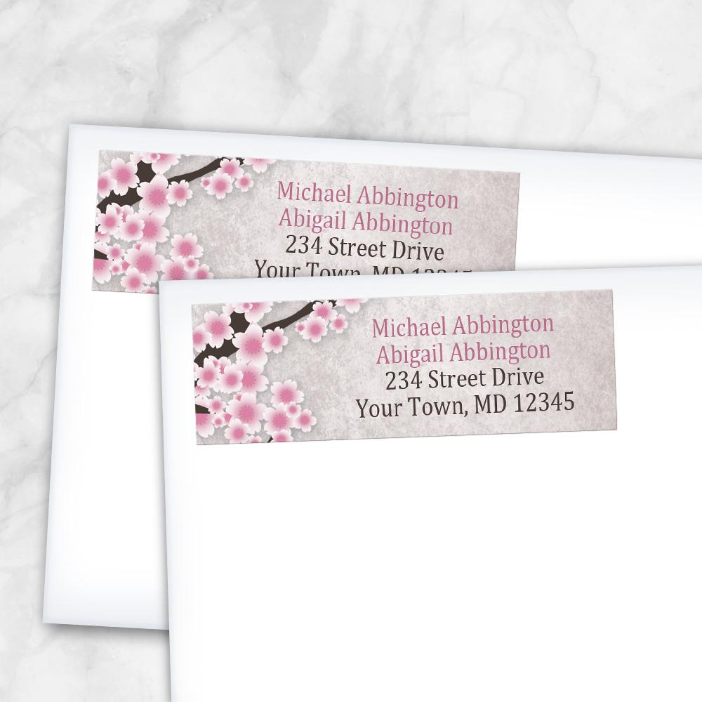 Rustic Pink Cherry Blossom Address Labels at Artistically Invited