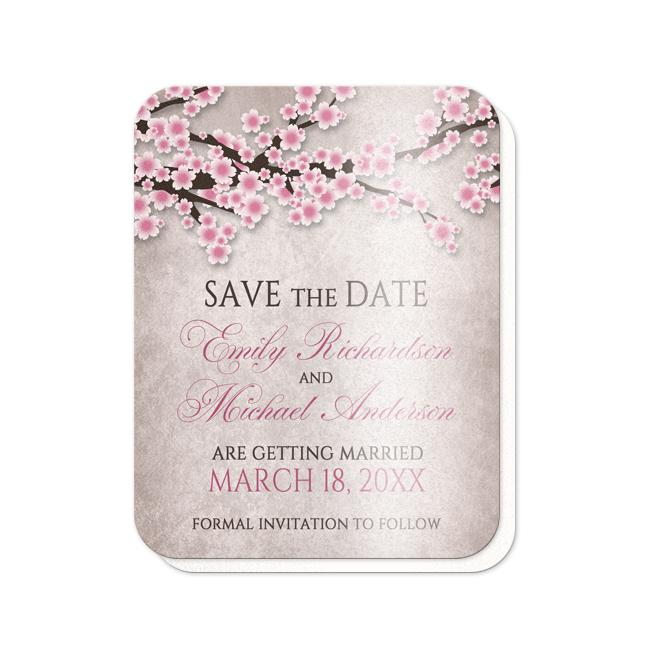Rustic Cherry Blossom Pink Save the Date Cards