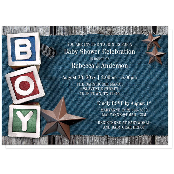 Rustic Country Boy Denim Baby Shower Invitations at Artistically Invited