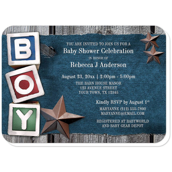 Rustic Country Boy Denim Baby Shower Invitations (rounded corners) at Artistically Invited