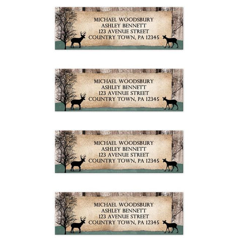 Deer Address Labels - Rustic Woodsy Deer Address Labels at Artistically Invited