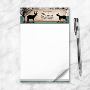 "Rustic Deer Woodsy Personalized 5.5"" x 8.5"" Notepad"