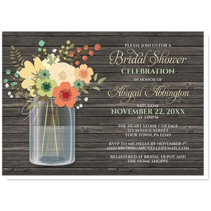 Rustic Floral Wood Mason Jar Bridal Shower Invitations at Artistically Invited