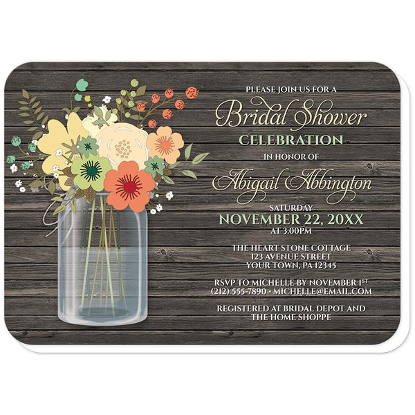 Rustic Floral Wood Mason Jar Bridal Shower Invitations (rounded corners) at Artistically Invited