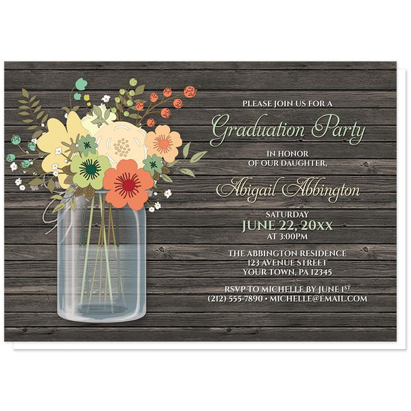 Rustic Floral Wood Mason Jar Graduation Invitations at Artistically Invited
