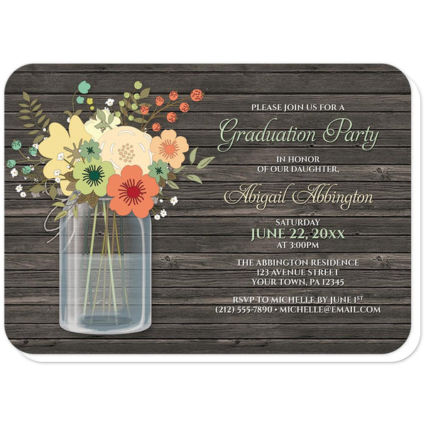 Rustic Floral Wood Mason Jar Graduation Invitations (rounded corners) at Artistically Invited