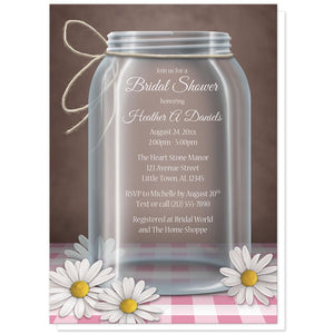 Rustic Gingham Mason Jar Bridal Shower Invitations at Artistically Invited