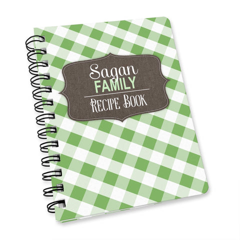 "Rustic Green Gingham 5"" x 7"" Personalized Recipe Notebook"