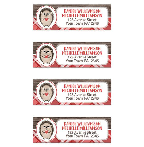 Rustic Hedgehog Heart Wood Red Plaid Return Address Labels at Artistically Invited