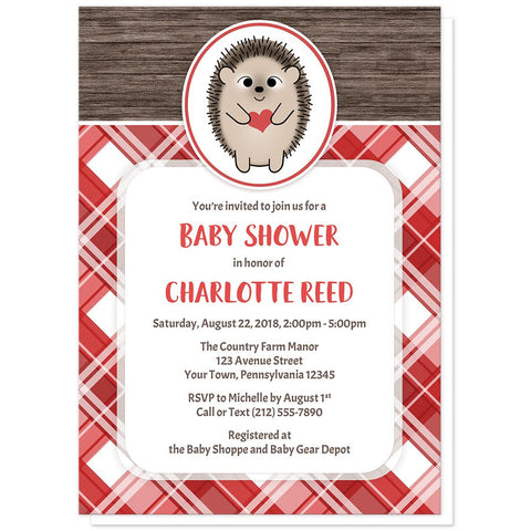 Rustic Hedgehog Heart Wood Red Plaid Baby Shower Invitations at Artistically Invited