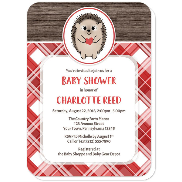 Rustic Hedgehog Heart Wood Red Plaid Baby Shower Invitations (rounded corners) at Artistically Invited
