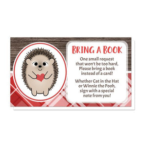 "Rustic Hedgehog Heart Wood Red Plaid ""Bring a Book"" Cards at Artistically Invited"