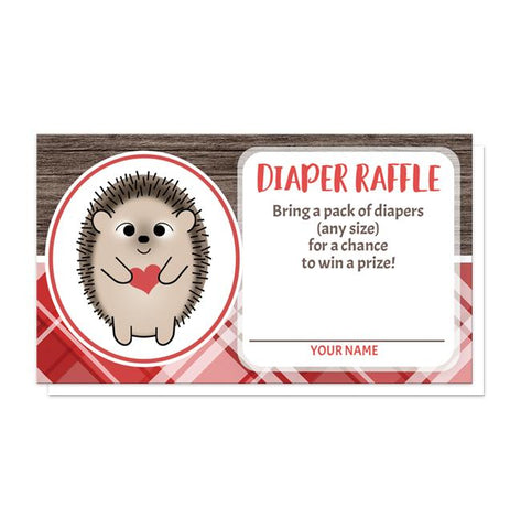Rustic Hedgehog Heart Wood Red Plaid Diaper Raffle Cards at Artistically Invited