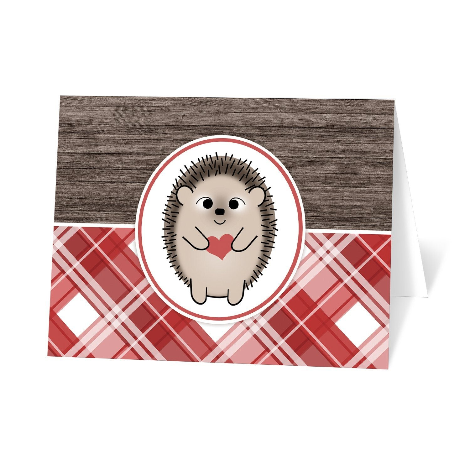 Rustic Hedgehog Heart Wood Red Plaid Note Cards at Artistically Invited