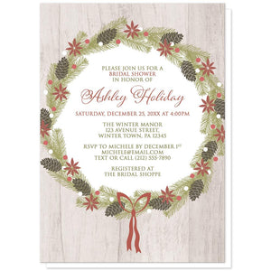 Rustic Poinsettia Pine Cone Wreath Bridal Shower Invitations at Artistically Invited