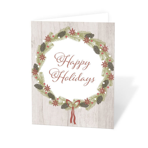 Rustic Pine Cone Wreath Happy Holidays Christmas Cards at Artistically Invited