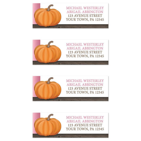 Rustic Orange Pink Pumpkin Address Labels at Artistically Invited