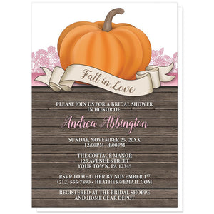 Rustic Orange Pink Pumpkin Fall in Love Bridal Shower Invitations at Artistically Invited