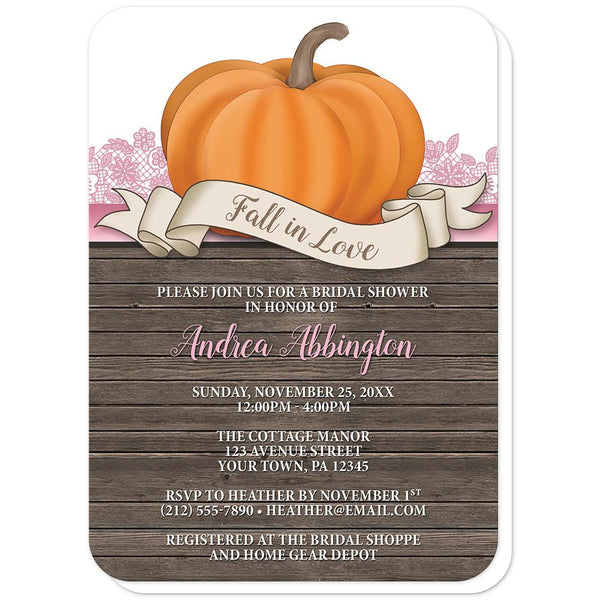 Rustic Orange Pink Pumpkin Fall in Love Bridal Shower Invitations (rounded corners) at Artistically Invited