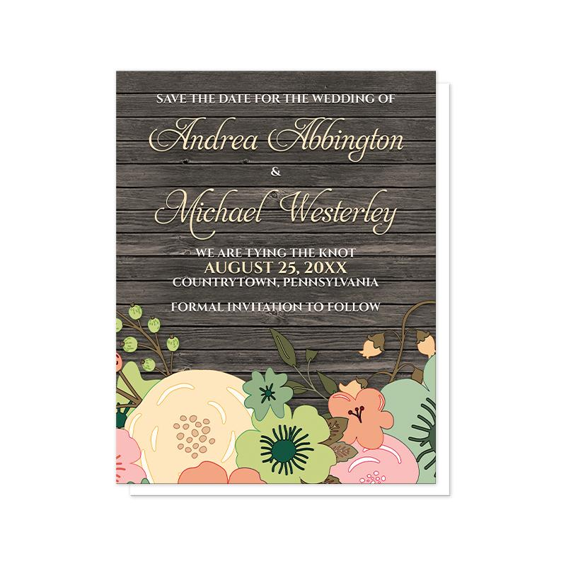 Floral Save the Date Cards - Rustic Orange Teal Floral Wood Save the Date Cards at Artistically Invited