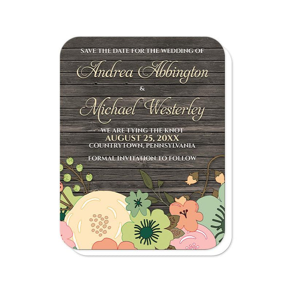 Floral Save the Date Cards - Rustic Orange Teal Floral Wood Save the Date Cards (rounded corners) at Artistically Invited
