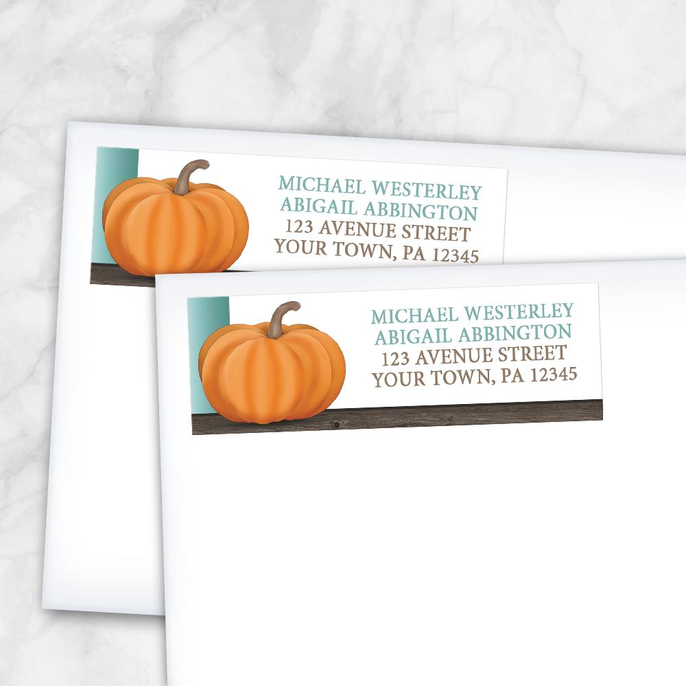 Rustic Orange Teal Pumpkin Address Labels at Artistically Invited