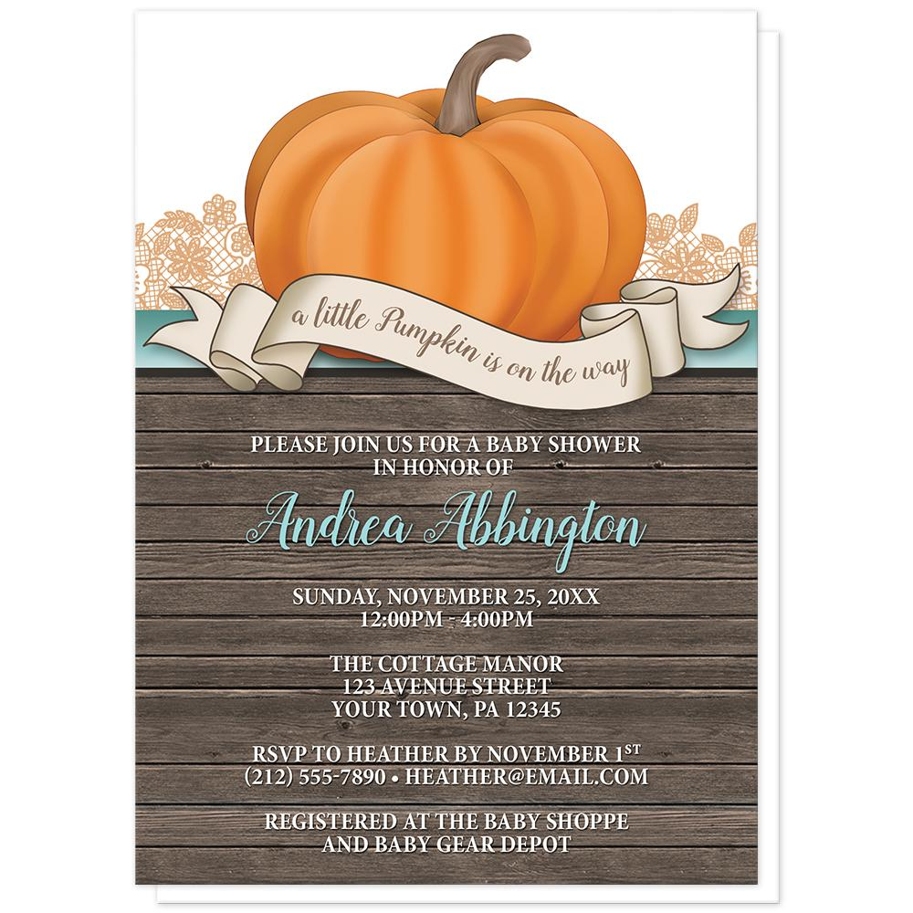 Rustic Orange Teal Pumpkin Baby Shower Invitations at Artistically Invited