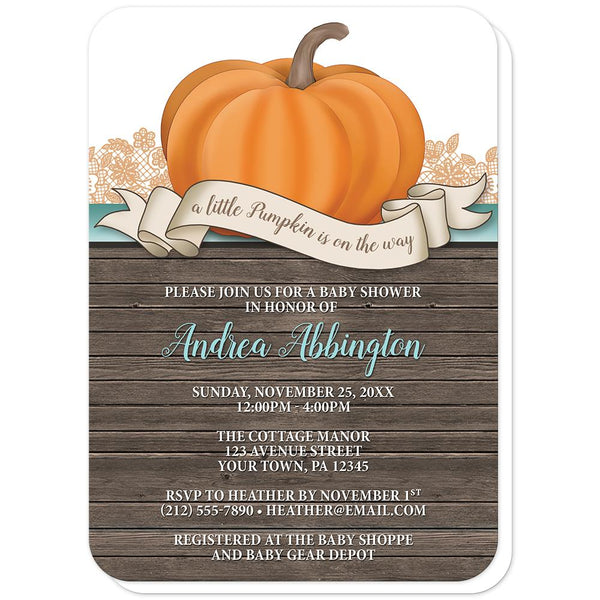 Rustic Orange Teal Pumpkin Baby Shower Invitations (rounded corners) at Artistically Invited