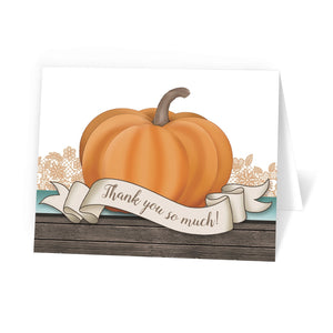 Rustic Orange Teal Pumpkin Thank You Cards at Artistically Invited