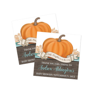 Rustic Orange Teal Pumpkin Thank You Stickers at Artistically Invited