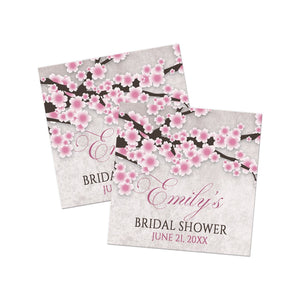 Rustic Pink Cherry Blossom Favor Stickers at Artistically Invited