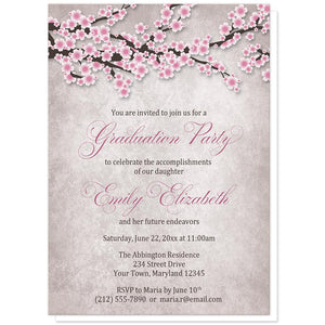 Rustic Pink Cherry Blossom Graduation Invitations at Artistically Invited