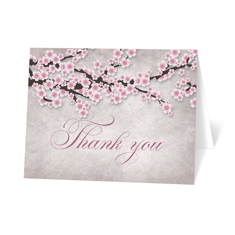 Rustic Pink Cherry Blossom Thank You Cards at Artistically Invited