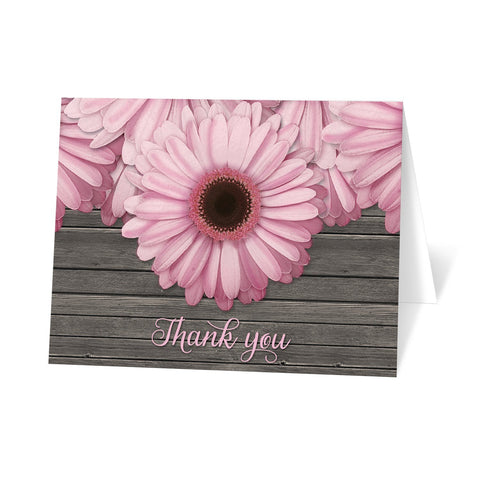 Rustic Pink Daisy Brown Wood Thank You Cards at Artistically Invited