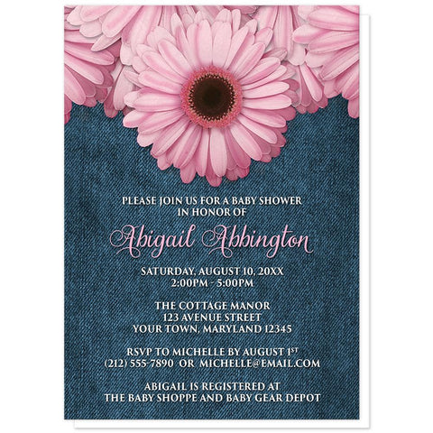 Rustic Pink Daisy and Denim Baby Shower Invitations at Artistically Invited