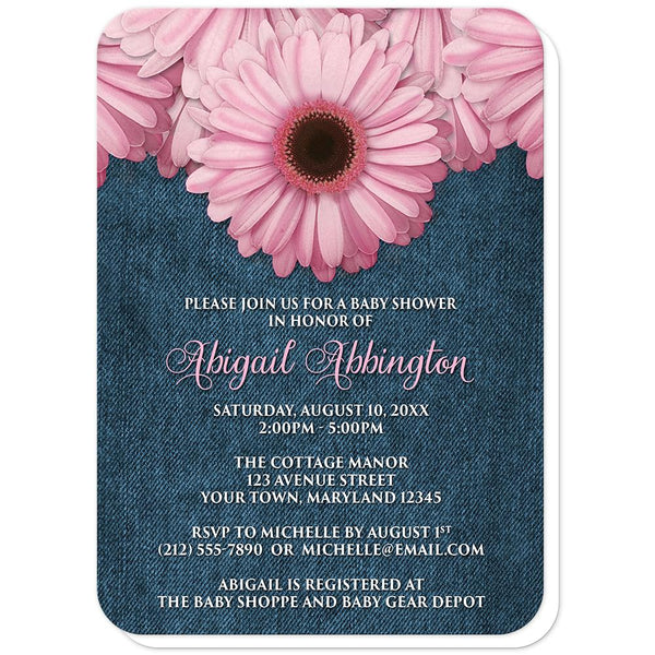 Rustic Pink Daisy and Denim Baby Shower Invitations (rounded corners) at Artistically Invited