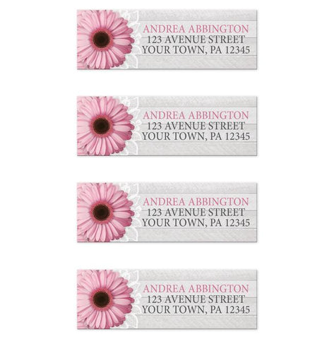 Rustic Pink Daisy Gray Wood Return Address Labels at Artistically Invited