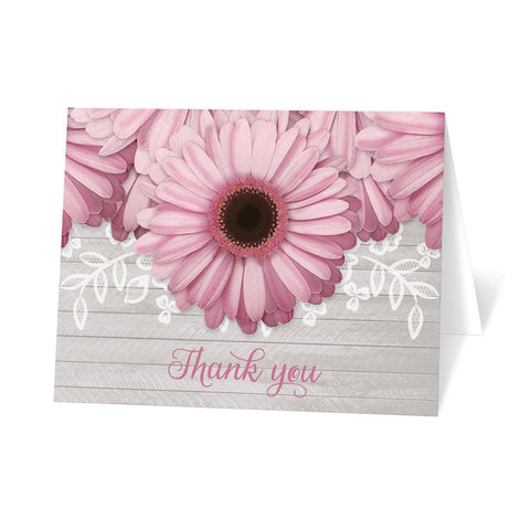 Rustic Pink Daisy Gray Wood Thank You Cards at Artistically Invited