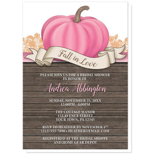 Rustic Pink Pumpkin Fall in Love Bridal Shower Invitations at Artistically Invited