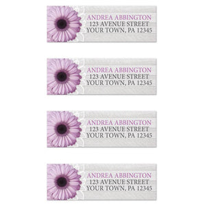 Rustic Purple Daisy Gray Wood Return Address Labels - Artistically Invited